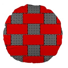 Black And White Red Patterns Large 18  Premium Flano Round Cushions