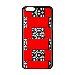 Black And White Red Patterns Apple Iphone 6/6s Black Enamel Case