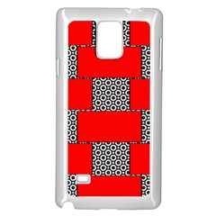 Black And White Red Patterns Samsung Galaxy Note 4 Case (white)