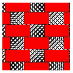 Black And White Red Patterns Large Satin Scarf (square)