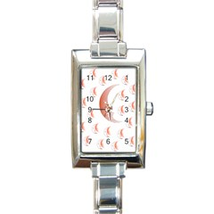 Moon Moonface Pattern Outlines Rectangle Italian Charm Watch