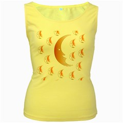 Moon Moonface Pattern Outlines Women s Yellow Tank Top