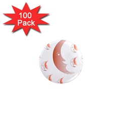 Moon Moonface Pattern Outlines 1  Mini Magnets (100 Pack)