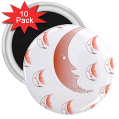 Moon Moonface Pattern Outlines 3  Magnets (10 Pack)