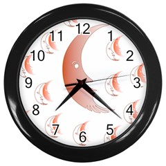 Moon Moonface Pattern Outlines Wall Clocks (black)