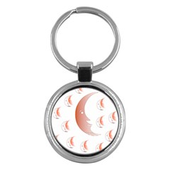 Moon Moonface Pattern Outlines Key Chains (round)