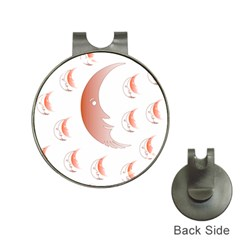 Moon Moonface Pattern Outlines Hat Clips With Golf Markers