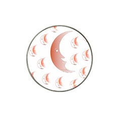 Moon Moonface Pattern Outlines Hat Clip Ball Marker (4 Pack)