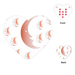 Moon Moonface Pattern Outlines Playing Cards (heart)