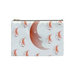 Moon Moonface Pattern Outlines Cosmetic Bag (medium)