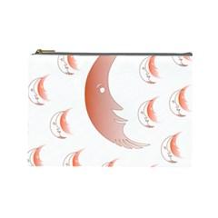 Moon Moonface Pattern Outlines Cosmetic Bag (large)