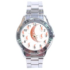 Moon Moonface Pattern Outlines Stainless Steel Analogue Watch