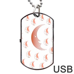 Moon Moonface Pattern Outlines Dog Tag Usb Flash (two Sides)