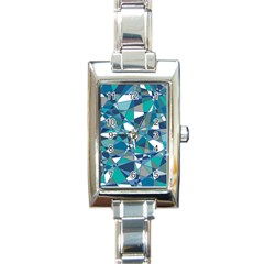 Abstract Background Blue Teal Rectangle Italian Charm Watch