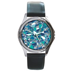 Abstract Background Blue Teal Round Metal Watch