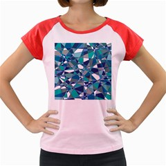 Abstract Background Blue Teal Women s Cap Sleeve T Shirt