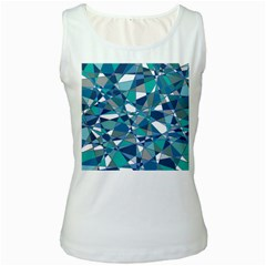 Abstract Background Blue Teal Women s White Tank Top