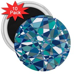 Abstract Background Blue Teal 3  Magnets (10 Pack)