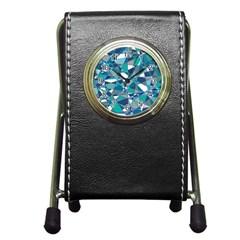 Abstract Background Blue Teal Pen Holder Desk Clocks