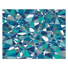 Abstract Background Blue Teal Rectangular Jigsaw Puzzl