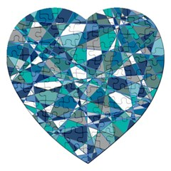 Abstract Background Blue Teal Jigsaw Puzzle (heart)