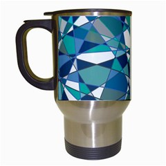 Abstract Background Blue Teal Travel Mugs (white)