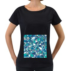 Abstract Background Blue Teal Women s Loose Fit T Shirt (black)