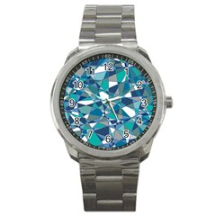 Abstract Background Blue Teal Sport Metal Watch