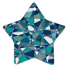 Abstract Background Blue Teal Star Ornament (two Sides)