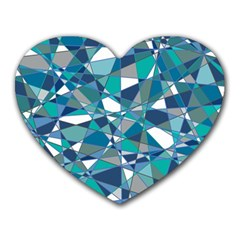 Abstract Background Blue Teal Heart Mousepads