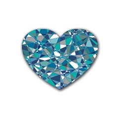 Abstract Background Blue Teal Rubber Coaster (heart)