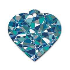 Abstract Background Blue Teal Dog Tag Heart (one Side)