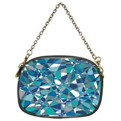 Abstract Background Blue Teal Chain Purses (two Sides)