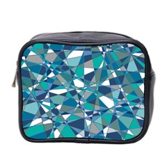Abstract Background Blue Teal Mini Toiletries Bag 2 Side