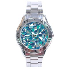 Abstract Background Blue Teal Stainless Steel Analogue Watch