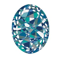 Abstract Background Blue Teal Ornament (oval Filigree)