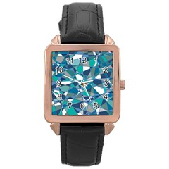 Abstract Background Blue Teal Rose Gold Leather Watch
