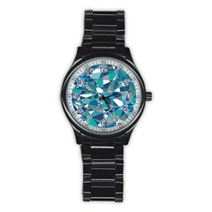 Abstract Background Blue Teal Stainless Steel Round Watch