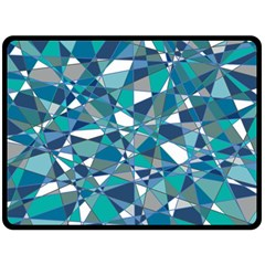 Abstract Background Blue Teal Double Sided Fleece Blanket (large)