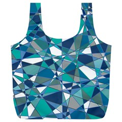 Abstract Background Blue Teal Full Print Recycle Bags (l)