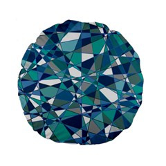 Abstract Background Blue Teal Standard 15  Premium Flano Round Cushions