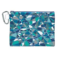 Abstract Background Blue Teal Canvas Cosmetic Bag (xxl)