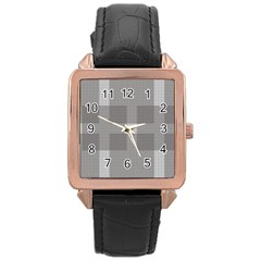 Gray Designs Transparency Square Rose Gold Leather Watch