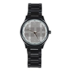 Gray Designs Transparency Square Stainless Steel Round Watch