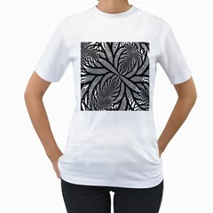 Fractal Symmetry Pattern Network Women s T Shirt (white) (two Sided)