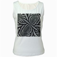 Fractal Symmetry Pattern Network Women s White Tank Top