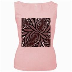 Fractal Symmetry Pattern Network Women s Pink Tank Top