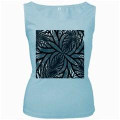 Fractal Symmetry Pattern Network Women s Baby Blue Tank Top