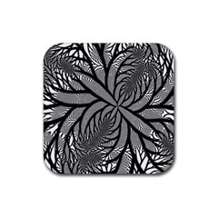 Fractal Symmetry Pattern Network Rubber Square Coaster (4 Pack)