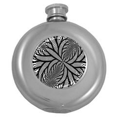 Fractal Symmetry Pattern Network Round Hip Flask (5 Oz)